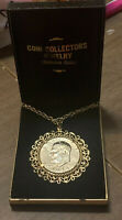 GOLD-PLATED 1974 EISENHOWER DOLLAR ON 24 CHAIN WITH DISPLAY BOX