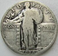 1928 STANDING LIBERTY SILVER QUARTER IN A SAFLIP - VG- GOOD