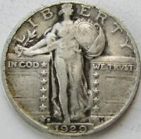 1929-D STANDING LIBERTY SILVER QUARTER IN A SAFLIP - VF
