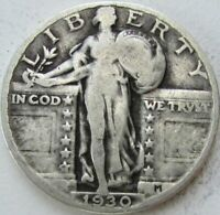 1930 STANDING LIBERTY SILVER QUARTER IN A SAFLIP - VG