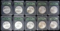 LOT OF 10 - 2000 AMERICAN SILVER EAGLES WITH SPOTS ICG MINT STATE 69 JL70