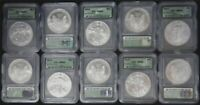 LOT OF 10 - 2001 AMERICAN SILVER EAGLES WITH SPOTS ICG MINT STATE 69 JL71