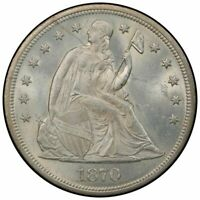 1870 $1 LIBERTY SEATED DOLLAR PCGS MINT STATE 64