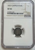1837 CAPPED BUST SILVER HALF DIME H10C NGC EXTRA FINE 45