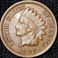 1907 INDIAN HEAD 1CENT PENNY VF  U.S. COIN IH707, MAKE REASONABLE OFFER.