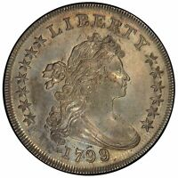 1799/8 $1 DOLLAR BUST, LARGE EAGLE 15 ST REV PCGS MINT STATE 62