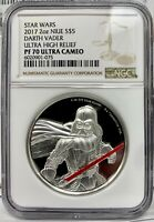 2017 NIUE STAR WARS DARTH VADER PROOF UHR 2 OZ .999 SILVER COIN   NGC PF 70 UCAM