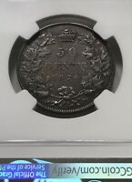 1870 CANADA 50 CENTS LCW NGC AU DETAILS: BANK OF CANADA