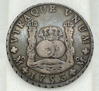 1753 8 REALES SILVER DOLLAR COIN SPAIN MEXICO MO EXCELLENT
