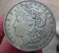 1921 - S MORGAN DOLLAR WITH CLIPPED PLANCHET, SHIPS FREE