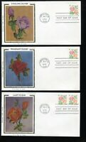 1737 ROSES BOOKLET ISSUE MATCHED FDC SET OF SIX COLORANO SIL