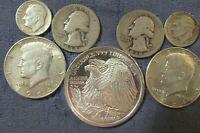 LOT OF 6 US SILVER COINS & 1 OZ .999 EAGLE ROUND 1964 1964 H