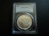 1886P MORGAN $1.00 90 SILVER DOLLAR COIN GRADED PCGS MINT STATE 65