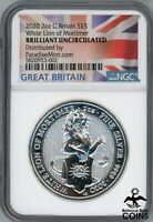 2020 GREAT BRITAIN 5 POUNDS 2OZ SILVER .9999 WHITE LION OF M