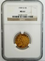 1909 D $5 NGC MS61 INDIAN HEAD HALF EAGLE GOLD COIN