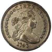1797 $1 DOLLAR BUST, SMALL EAGLE 9X7 SM LET NGC AU55