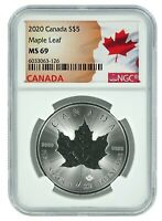 2020 CANADA 1OZ SILVER MAPLE LEAF NGC MS69   FLAG LABEL