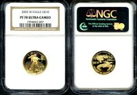 2005 W EAGLE $10 1/4 OZ GOLD NGC PF70 ULTRA CAMEO - PERFECT PROOF