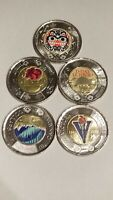 CANADA $2 COMPLETE SET OF 5 COLOURED COINS.