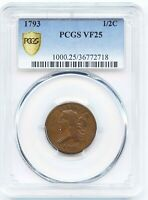 1793 1/2 CENT LIBERTY CAP FLOWING HAIR PCGSVF25 COIN