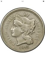 1875 3CN THREE CENT NICKEL PIECE FS-301 MPD MISPLACED DATE IN NECK  COIN