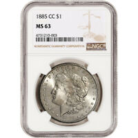 1885-CC US MORGAN SILVER DOLLAR $1 - NGC MINT STATE 63