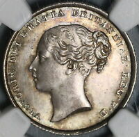 1839 NGC MS 64  VICTORIA SILVER SHILLING GREAT BRITAIN COIN  20091201C