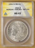 1921 P VAM-26A MORGAN SILVER DOLLAR ANACS MINT STATE 63