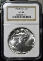 1986 AMERICAN SILVER EAGLE 1 OZ - NGC MINT STATE 69