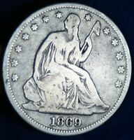 1869 50C SEATED LIBERTY SILVER HALF DOLLAR COIN