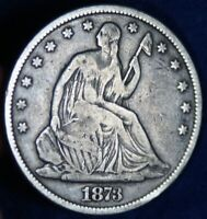 1873 50C SEATED LIBERTY SILVER HALF DOLLAR COIN
