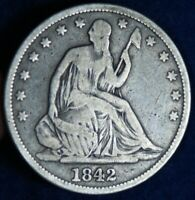 1842 50C SEATED LIBERTY SILVER HALF DOLLAR COIN