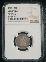 1875 S SEATED LIBERTY 20 CENT PIECE  VF DETAILS  NGC CLEANED