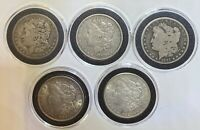 LOT OF 5 ASSORTED MORGAN SILVER DOLLARS 1879, 1879, 1891 O, 1921, 1921 S