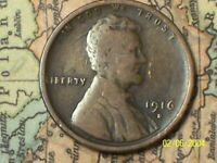 1916-D  @  LINCOLN PENNY {FROM OLD ROLL}