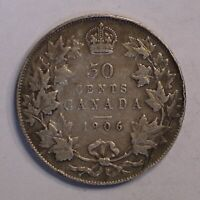 1906 CANADA 50 CENT KING EDWARD VII KM 12 STERLING SILVER CO