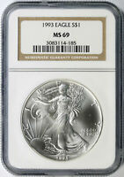 1993 $1 AMERICAN SILVER EAGLE NGC MINT STATE 69