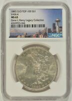 1883-O/O MORGAN SILVER DOLLAR $1 VAM-4 TOP 100 NGC MINT STATE 63 4269953-066