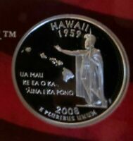 2008 S HAWAII PROOF 90  SILVER QUARTER TAKEN FROM SILVER PRO