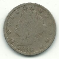 A GOOD DETAILS 1896 LIBERTY HEAD V NICKEL COIN-MAR119