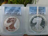 2012-S $1 SILVER EAGLE, 75TH ANNIVERSARY 2 COIN SET, REV PF70 PR 70