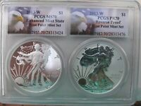 2013-W REVERSE PR 70/ENHANCED MS 70 2 COIN SET SILVER EAGLE PCGS