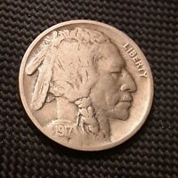 1917 P BUFFALO/INDIAN HEAD NICKEL -  GOOD VG, STRONG NATURAL DATE