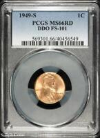 1949-S DDO FS-101 LINCOLN WHEAT CENT  PCGS MINT STATE 66 RD RED  B5-6549