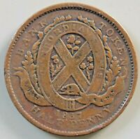 1837 LC 8A1 LOWER CANADA CANADIAN COLONIAL 1/2 PENNY CITY BA