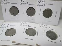 LOT OF 6 1873 US LARGE CENT COIN