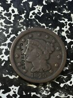 1845 U.S. BRAIDED HAIR LARGE CENT COUNTERSTAMPED 'C.A. FROST