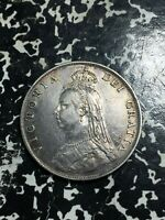 1887 GREAT BRITAIN 1 FLORIN LOTPJ126 SILVER  CLEANED
