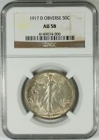 1917 D 50C WALKING LIBERTY SILVER HALF DOLLAR NGC AU58   OBV