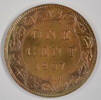 1907 H CANADA LARGE CENT UNC UNCIRCULATED DETAILS WHIZZED 1C
